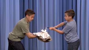 NJ Boys, 12 and 10, Toss Flaming Pizza Dough for Fallon