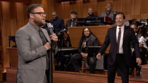 Seth Rogen Challenges Jimmy Fallon at Lip Sync Battle