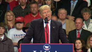 Trump Critical of China at Iowa Rally