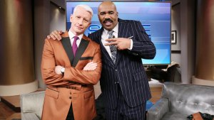 Anderson Cooper Visits Steve Harvey Set