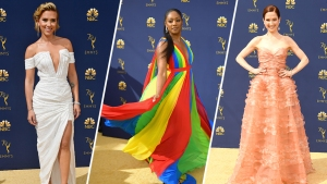 Emmy Fashions Take Political Bent on Gold Carpet
