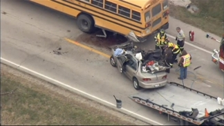 Raw: Sky5 Above Bus Crash