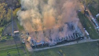 Massive Fire Destroys Horse Stables