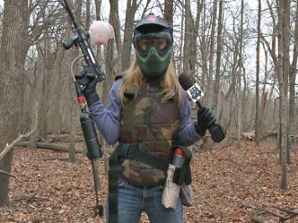 Paintball Easier When You Have a Human Shield