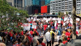Hotel Workers March in Chicago as Strike Continues