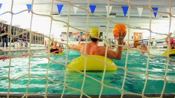 Try to Keep Yourself Afloat In Inner Tube Water Polo