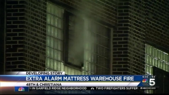 Firefighters Battle Extra-Alarm Warehouse Fire