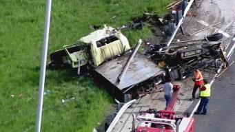Raw Video: Northbound I-57 Shut Down Near Matteson Due to Crash