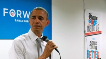 Obama Chokes Up at Campaign HQ