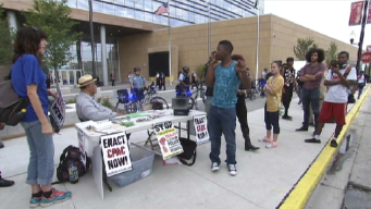 Protesters Gather Outside Emanuel Speech