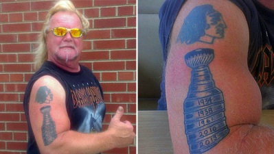 "Hawks Fan Adds ""2013"" To Stanley Cup Tattoo"