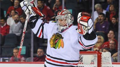 Raanta Shows Blackhawks Pride on Stadium Series Pads