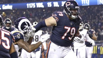 b31d1892eeb Bradley Sowell Steals Show With Touchdown Catch. Chicago Bears quarterback Mitchell  Trubisky ...