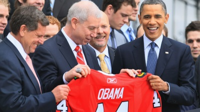 Obama Avoids Hockey Trash Talk In Boston