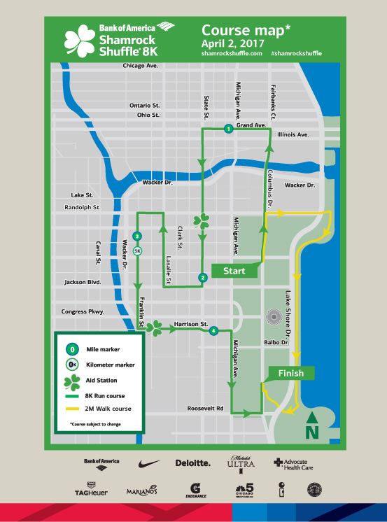 Chicago America Map.See The Full Map Of The 2017 Shamrock Shuffle Course Nbc Chicago