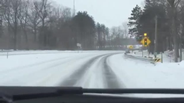 Snowy I-94 During Blizzard-Like Conditions in Northwest Indiana