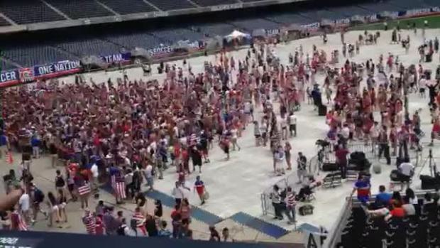 Thousands Pour Into Soldier Field for World Cup Viewing Party