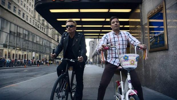 [NATL] WATCH: Bono Rides Bikes With Jimmy Fallon