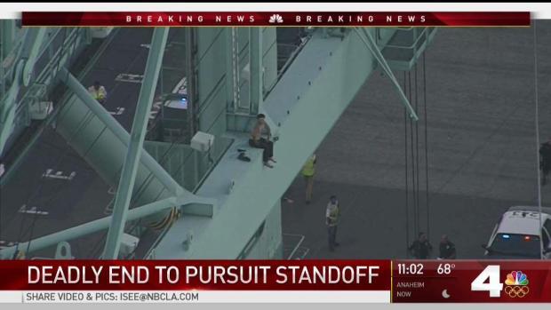 [NATL-LA] Man Dies Falling From Crane After Pursuit