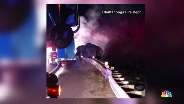 [NATL] Elephants Evacuated From Burning Truck in Ga. Highway Fire