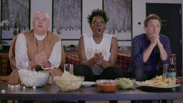 [NATL] 'Late Night': Seth Meyers, Leslie Jones Watch 'GoT' With Lord Varys