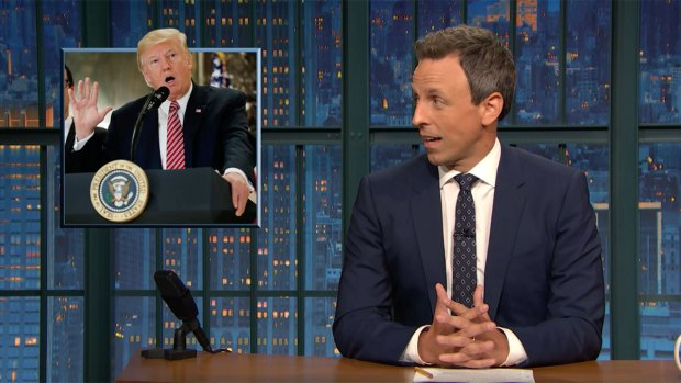 [NATL]'Late Night': Seth Meyers Breaks Down President Trump's Press Conference