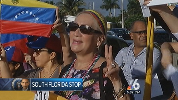 [MI] Venezuelans Rally Outside President Obama's Visit to Coral Reef Senior High School