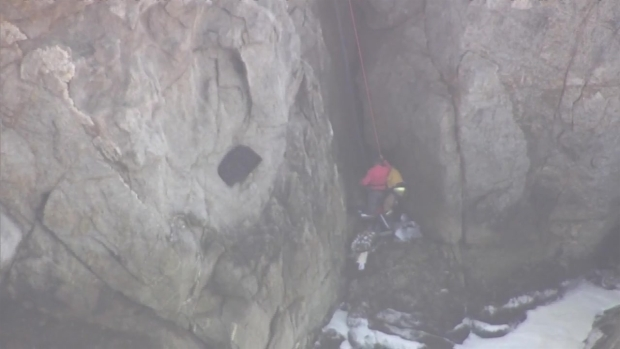 RAW: Dramatic Video of Person Rescued After Car Went Over Cliff