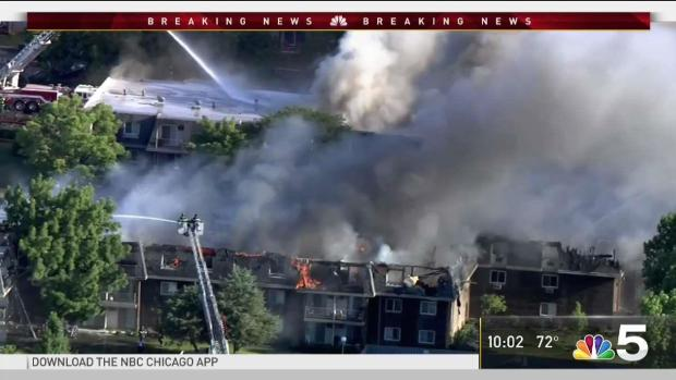 [CHI] 3 Injured in Massive Condo Complex Fire in Prospect Heights That Took Nearly 8 Hours to Extinguish