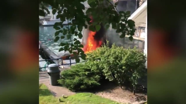 Video Footage: Moments After Boat in Wilmette Harbor Exploded