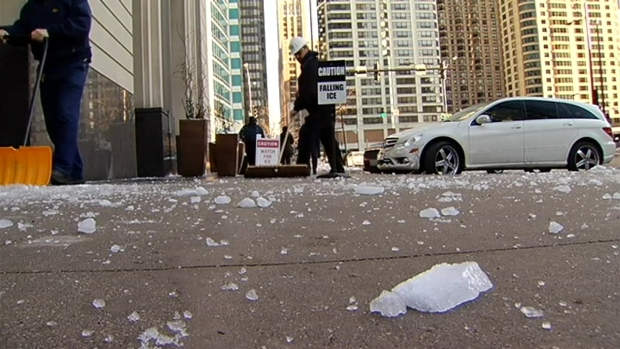 [CHI] Ice Falls from Chicago Skyscrapers