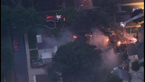 Sky 5 Above Streator Home Explosion