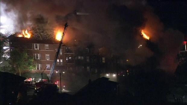 Sky 5 Above Oak Park Apartment Fire