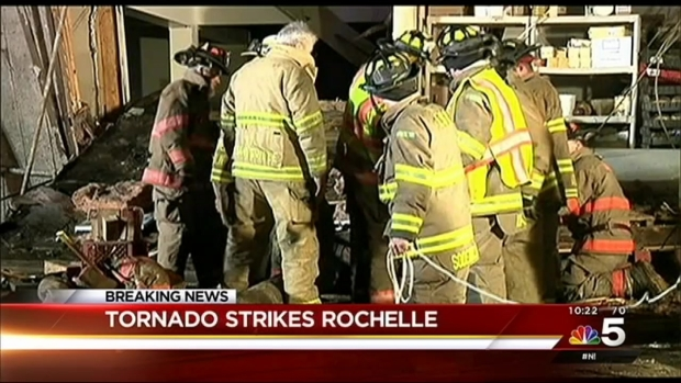 [CHI]  At Least a Dozen Temporarily Trapped After Rochelle Restaurant Leveled by Tornado