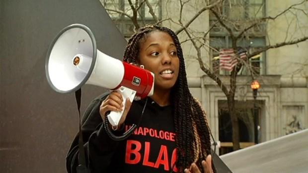 [CHI] Demonstrator Speaks at Rekia Boyd Rally
