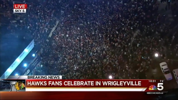 Sky 5: Chicago Fans Fill Streets Outside Wrigley Field