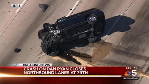 [CHI] Rollover Crash on Dan Ryan Expressway Injures 3