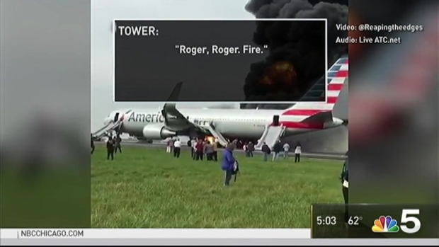 [CHI] Air Traffic Control Audio Released After American Airlines Flight Catches Fire at O'Hare Airport