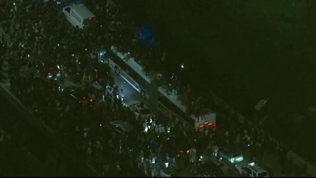 Trump Protesters Climb on CTA Bus Halted on Lake Shore Drive