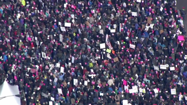Aerial Footage Shows Crowd at Women's March Chicago