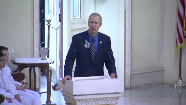 'Today, All of us Are Blue: Rauner Speaks at Cmdr. Bauer's Funeral