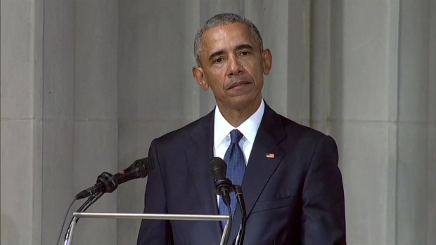 Obama Praises McCain in Emotional Eulogy