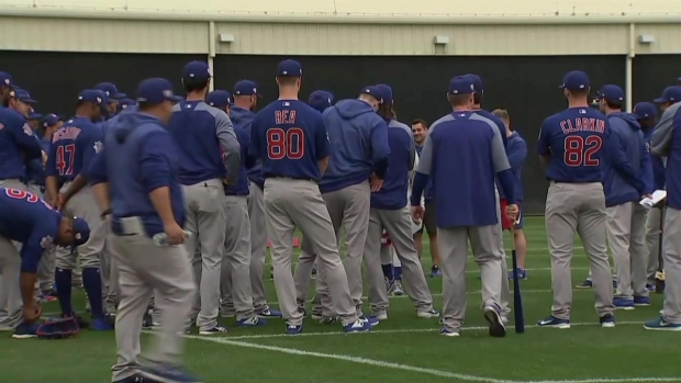 Cubs Warm Up Prior to 3rd Day of Spring Training