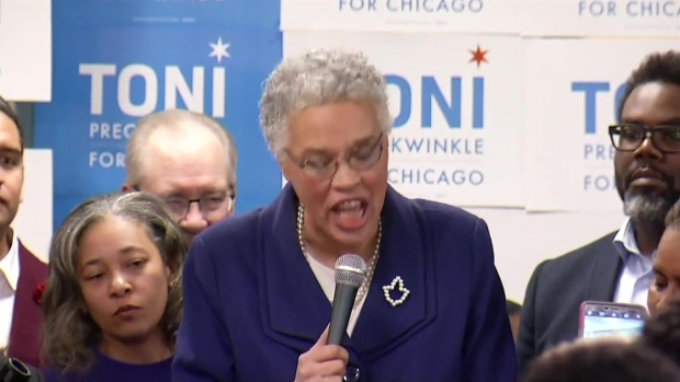 [CHI] 'Thank You, Thank You, Thank You': Toni Preckwinkle Addresses Supporters After Securing Spot in Mayoral Runoff