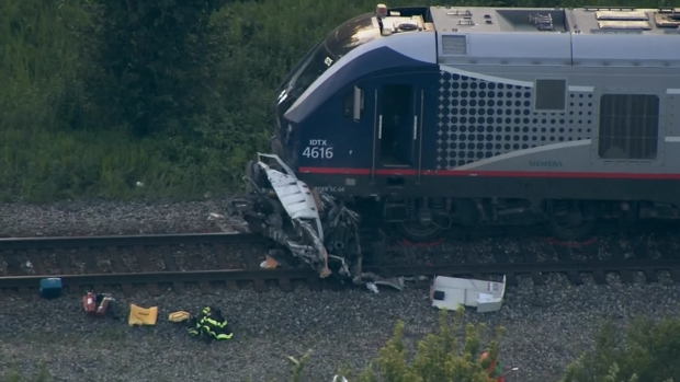 Sky 5: Aerial View of Amtrak Train Collision Damage in University Park