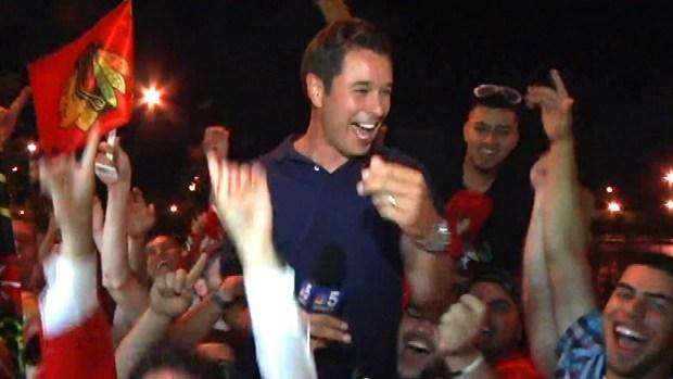 [CHI] Elated Blackhawks Fans Hoist Reporter