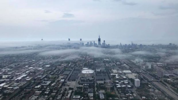 Gloomy Skies Descend in the Chicago Area Tuesday Evening