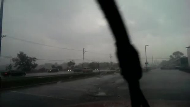 Lightning Blast Strikes Close to Highway