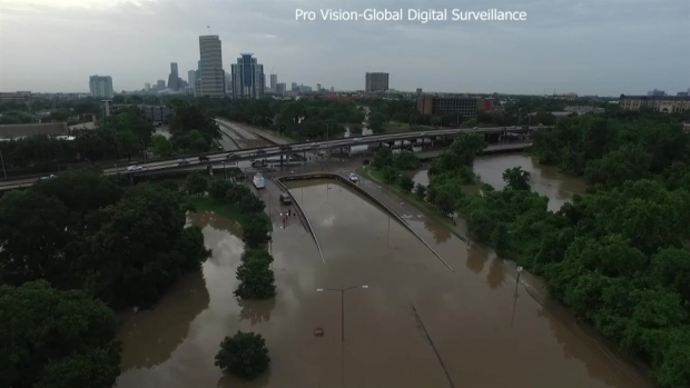 Raw Video: Drone Surveys Houston Floods