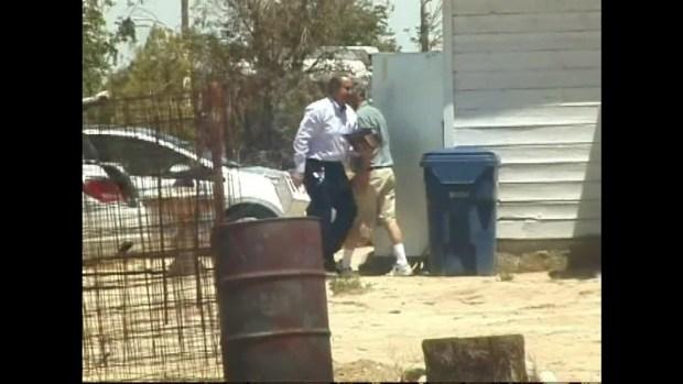 "[LA] Raw Video: ""Pillowcase Rapist"" Arrives at Lake Los Angeles Home"